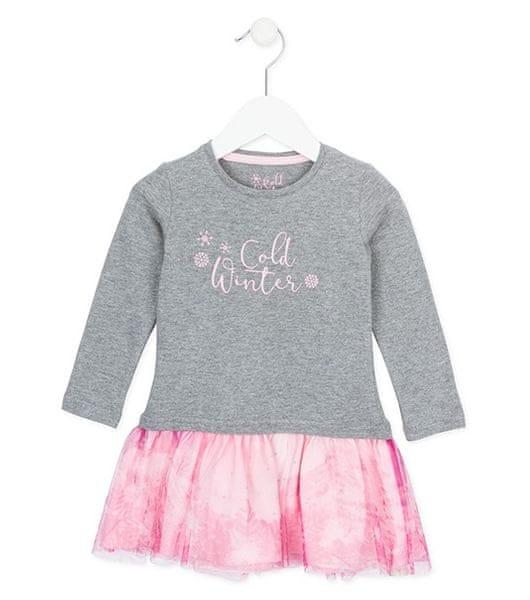 Losan dívčí šaty 116 růžová/šedá