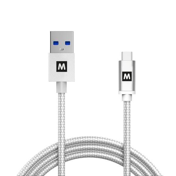 MAX Propojovací datový kabel USB 3.1 Gen2, USB a USB A opletený 1m, bílý