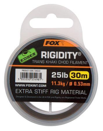 FOX Náväzcový Vlasec Edges Rigidity Chod Filament 30 m Trans Khaki 0,53 mm, 11,3 kg