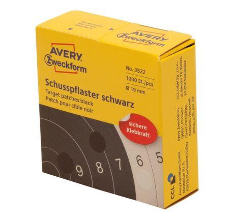 Avery Zweckform okrogle markirne etikete, Ø 19 mm, 1000 etiket/zavitek, črne