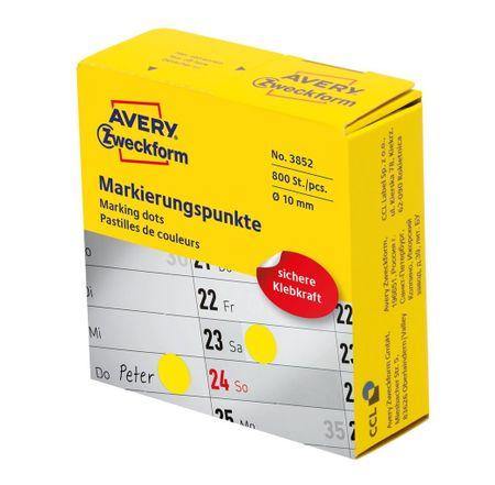 Avery Zweckform okrogle markirne etikete 3852, premer 10 mm, rumena