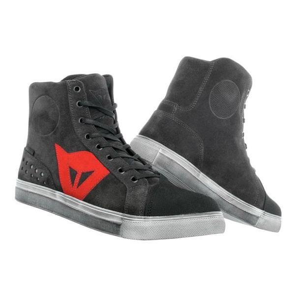 Dainese kotníkové boty STREET BIKER D-WP vel.44 karbon/červená, kůže (pár)