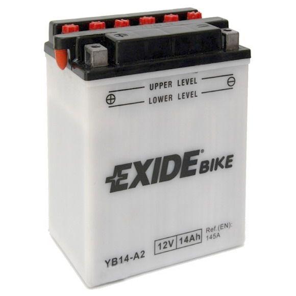 Exide baterie EB14-A2, 12V 14Ah, za sucha nabitá s antisulfační úpravou. Náplň součástí balení.