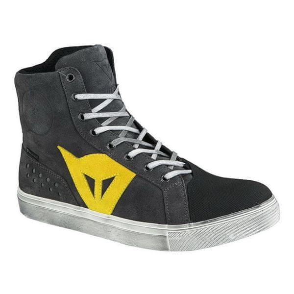 Dainese kotníkové boty STREET BIKER D-WP vel.45 antracitová/žlutá, kůže (pár)