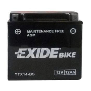 Exide bezúdržbová AGM baterie ETX14-BS, 12V 12Ah, za sucha nabitá. Náplň součástí balení.