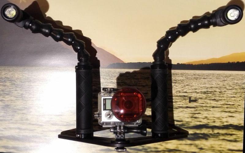 GRALMARINE Lampy se základnou a rameny pro podvodní foto a video 2 x 10 W LED