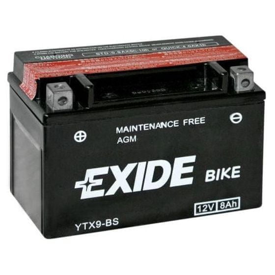 Exide bezúdržbová AGM baterie ETX9-BS, 12V 8Ah, za sucha nabitá. Náplň součástí balení.