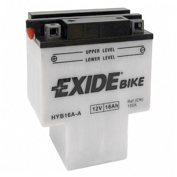 Exide baterie HEB16A-A, 12V 16Ah, za sucha nabitá s antisulfační úpravou. Náplň součástí balení.
