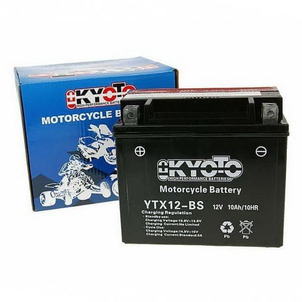 Baterie KYOTO 12V 10Ah YTX12-BS (kysel. náplň součástí balení)
