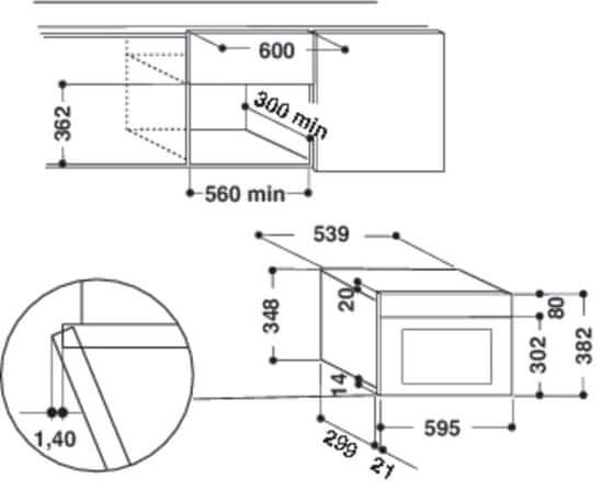 Indesit ugradbena mikrovalna pećnica MWI 6211 IX