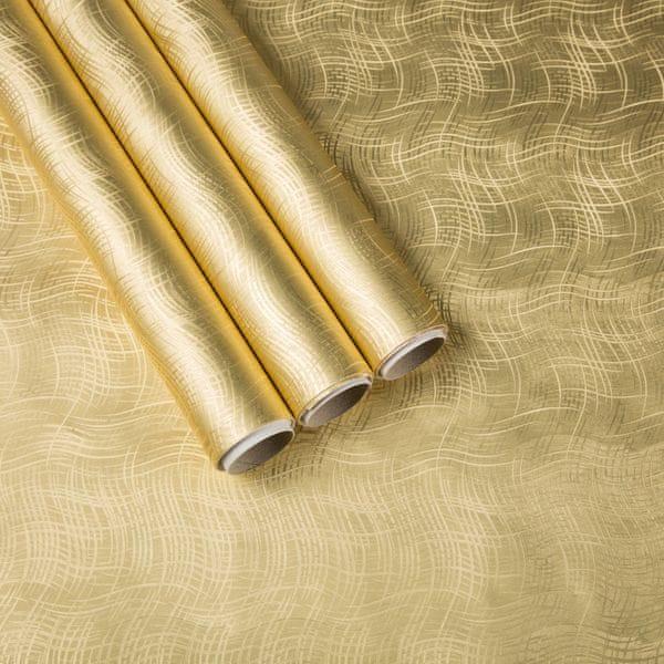 Giftisimo Balicí papír 3x 1,5 m, zlaté vlnky