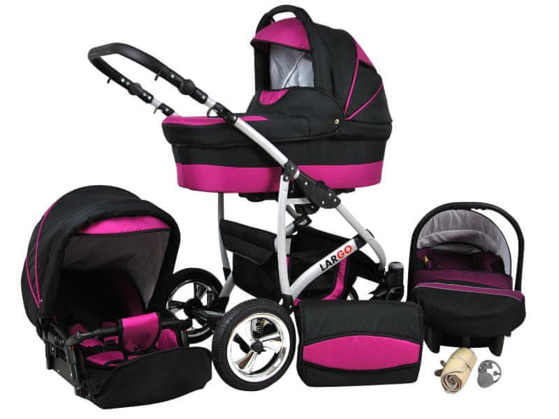 Sun Baby Kombinovaný kočárek Largo 3v1 růžová