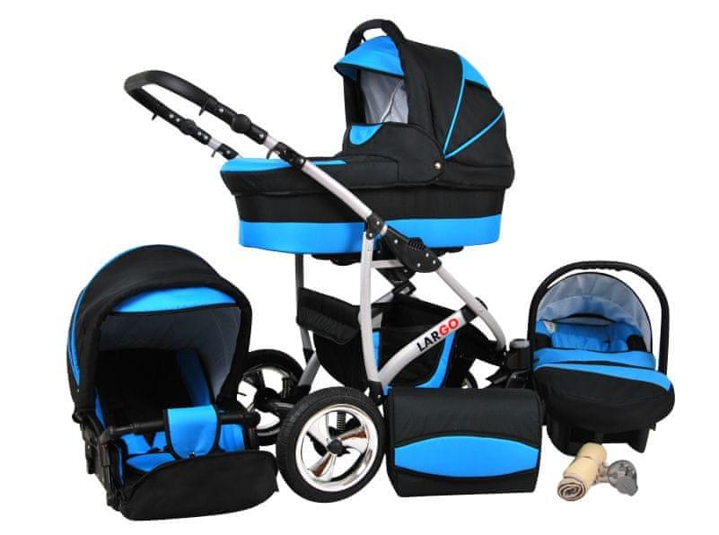 Sun Baby Kombinovaný kočárek Largo 3v1 modrá