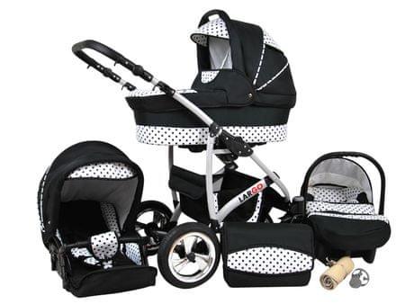 Sun Baby Wózek wielofunkcyjny Largo 3w1, czarne kropki