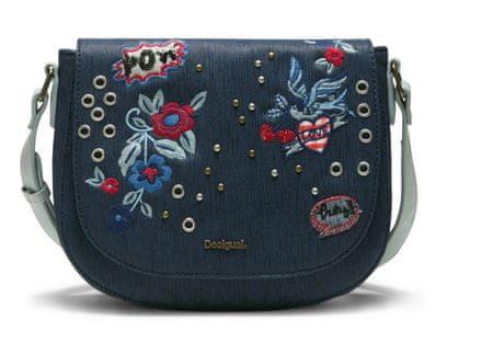 Desigual ženska ročna torbica temno modra Denim Flowers Varsovi