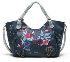 Desigual ženska ročna torbica temno modra Denim Flowers Rotterd