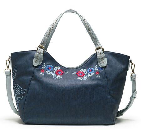 Desigual tmavě modrá kabelka Denim Flowers Rotterd  903892bbfac