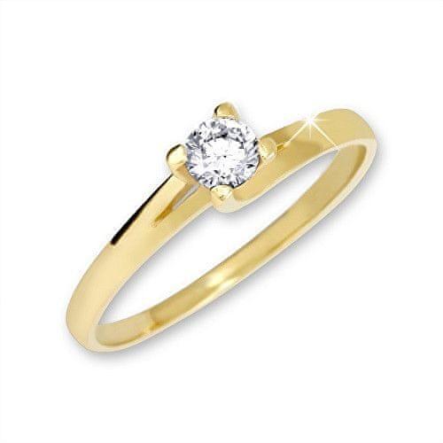 Brilio Zlatý zásnubní prsten 223 001 00090 - 1,70 g (Obvod 52 mm) zlato žluté 585/1000