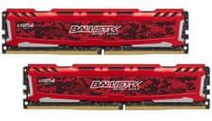 Crucial pomnilnik Ballistix Sport LT Red DIMM 16GB Kit (8GBx2) DDR4 2400 CL16 1.2V
