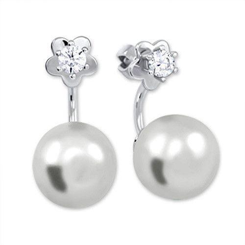 Brilio Silver Stříbrné náušnice se syntetickou perlou a čirým krystalem 438 001 01784 04 - 4,05 g