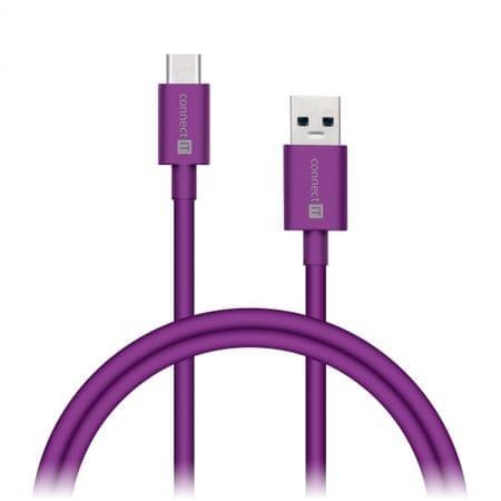 Connect IT Wirez COLORZ kabel USB-C (Type C) - USB-A, 1 m, fialový (CCA-5033-VT)