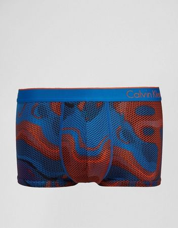 Calvin Klein oranžovo-modré pánské boxerky Micro Low Rise Trunk U8516 - Velikost: M