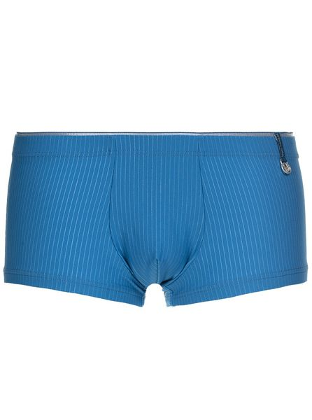 Bruno Banani modré boxerky s jemným proužkem Hipshort Scroll - Velikost: M