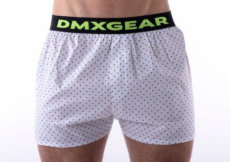 DMXGEAR luxusní pánské bílé volné trenýrkyBlue Dots Tartan - Velikost: L