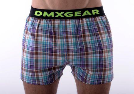 DMXGEAR luxusní pánské volné trenýrky Violet GreenTartan - Velikost: M