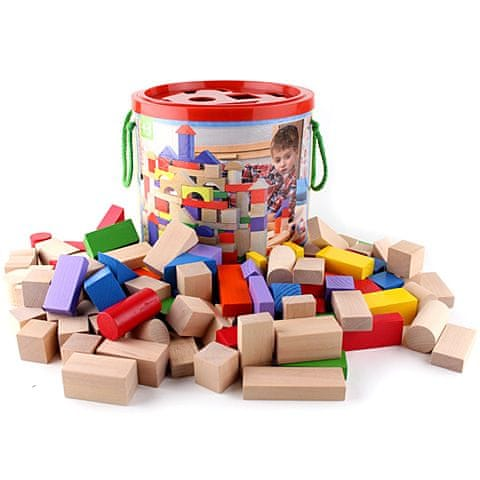 Woody Stavebnice kostky barevné/natur s prostrkávacím víkem, 100 dílů