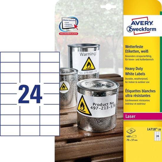 Avery Zweckform etikete iz poliestra, L4718-20, za laserske tiskalnike, bele, 70 x 37 mm