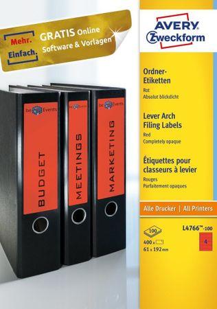 Avery Zweckform etikete, L4766-20, za široke registratorje, 192 x 61 mm, rdeča