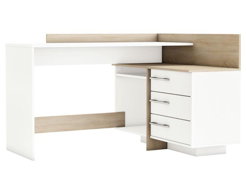THOLE rohový psací stůl, bílá/dub sonoma