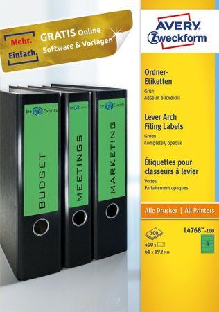 Avery Zweckform etikete L4768-100, za široke registratorje, 192 x 61 mm, zelene