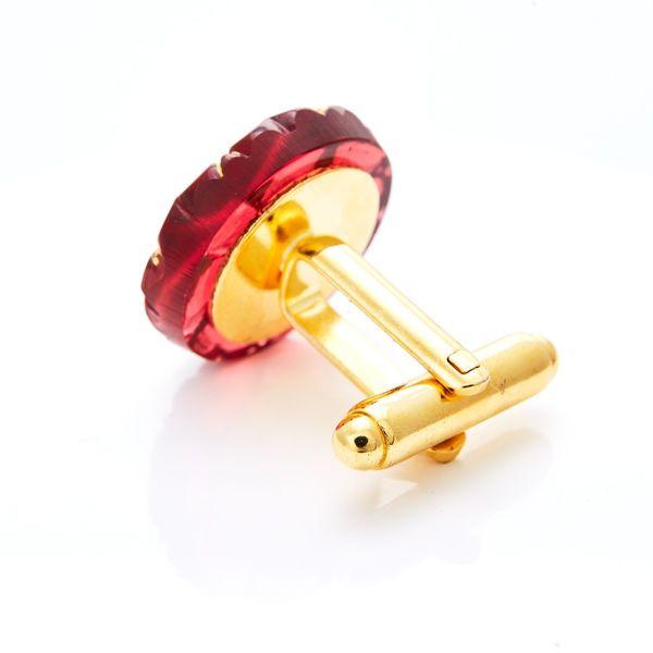 YABLOGLASS Zlaté manžetové knoflíčky Rubín s čirým krystalem