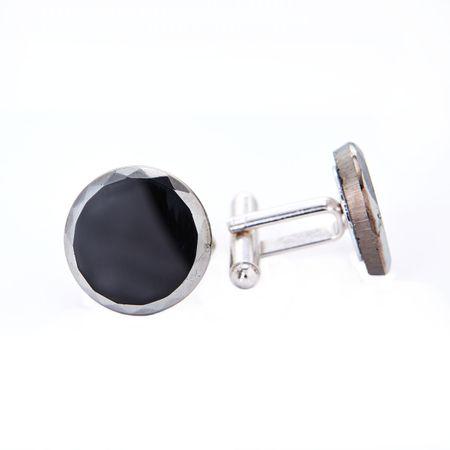 YABLOGLASS Stříbrné manžetové knoflíčky Black Onyx. Rhodiováno. Dárková krabička zdarma