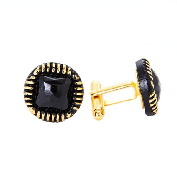 YABLOGLASS Zlaté černé manžetové knoflíčky se zlatým okrajem