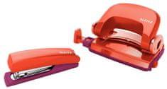 Set mini sešívačky a děrovačky Leitz Urban Chic červená