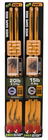 Fox Hotový Návazec Armapoint Wide Gape Rigs Green Barbless 2 ks 6, 20 lb