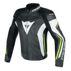 Dainese pánska kožená športová moto bunda ASSEN čierna/biela/fluo žltá