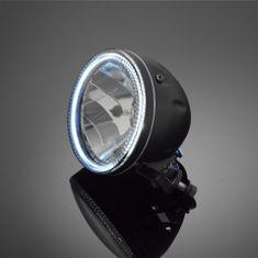 Highway-Hawk hlavné svetlo na motocykel  s obrysovým LED svetlom (angle eyes), E-mark, čierne, (1ks)