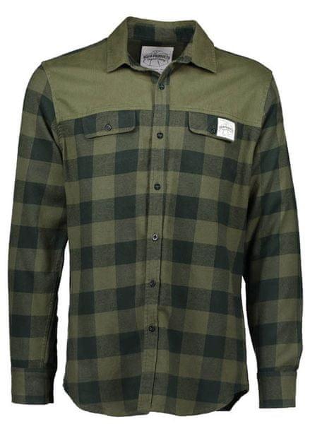 AQUA PRODUCTS Aqua Flanelová Košile Long Sleeve Green Check Flannel Shirt S