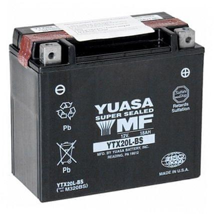 Yuasa baterie 12V 18Ah YTX20L-BS (dodáváno s kyselinovou náplní)