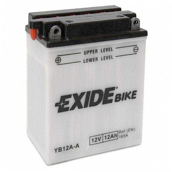 Exide baterie EB12A-A, 12V 12Ah, za sucha nabitá s antisulfační úpravou. Náplň součástí balení.