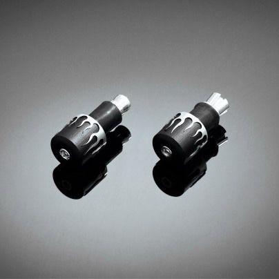 "Highway-Hawk koncovky riadidiel 25mm (1"")  FLAME, kónické, čierna/chróm (2ks)"