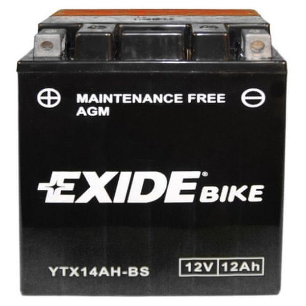 Exide bezúdržbová AGM baterie ETX14AH-BS, 12V 12Ah, za sucha nabitá. Náplň součástí balení.