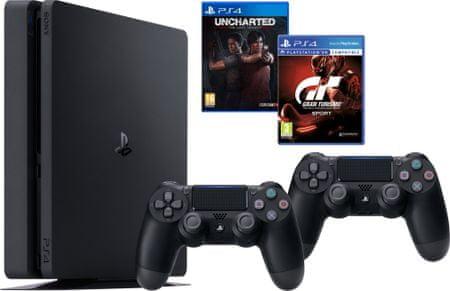SONY PlayStation 4 1TB Slim + Gran Turismo Sport + Uncharted Lost Legacy + extra DualShock 4