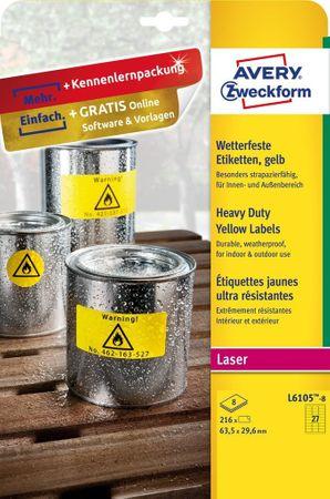 Avery Zweckform etikete iz poliestra, L6105-8, 63.5 x 29.6 mm, rumena