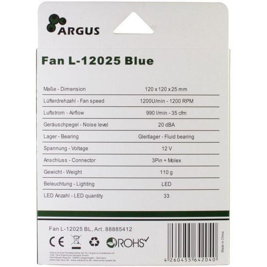 Inter-tech LED ventilator za ohišje Argus L-12025 BL, 120 mm, moder