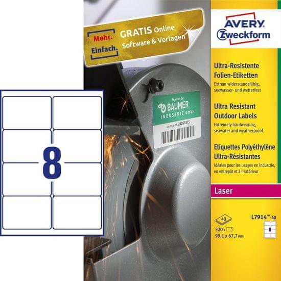 Avery Zweckform etikete, L7914-40, 99.1 x 67.7 mm, bela